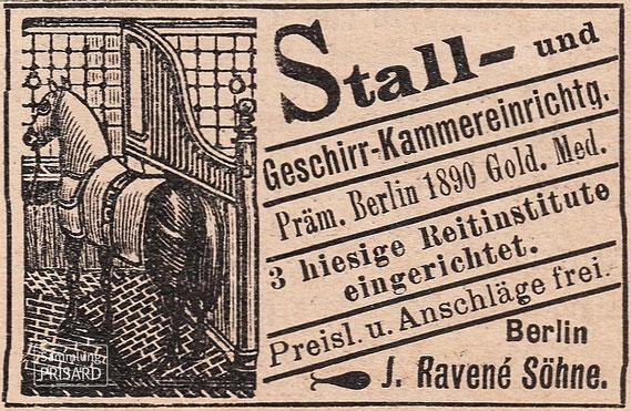 IMA.19.020 Werbeanzeige von J. Ravené Söhne (Berlin, 1897) / © Sammlung PRISARD
