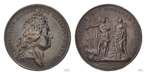 NUM.17.006 Bronzemedaille LUDOVICUS MAGNUS REX CHRISTIANISSISMUS / OB VICIES CENT. M. CALV. AD ECCL. REVOC. (1685) / © Sammlung PRISARD