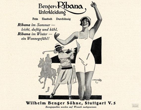 Werbeanzeige für Ribana-Unterwäsche von Wilhelm Benger Söhne (Velhagen und Klasings Monatshefte, 1928) / © Sammlung PRISARD