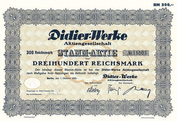 Aktie der Didier-Werke (Berlin, 1932) / © Sammlung PRISARD