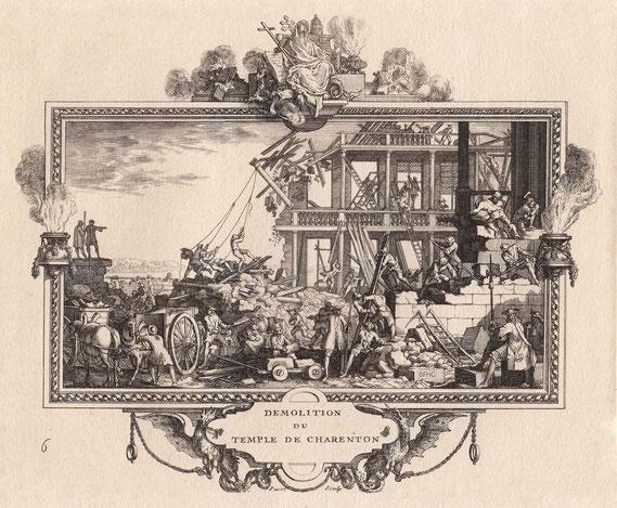 IMA.18.030 Zerstörung der reformierten Kirche von Charenton (Kupferstich, um 1704) / © Sammlung BFHG
