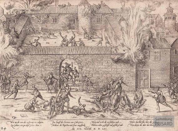 IMA.16.002 Massaker von Cahors (1561) (Kupferstich, zweite Hälfte 16. Jahrhundert) / © Sammlung PRISARD