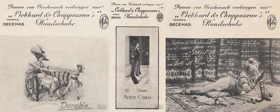 IMA.20.039 Reklamemarken der Handschuhmanufaktur Gebhard & Chappuzeau (Berlin, 1. Hälfte 20. Jahrhundert) / © Sammlung PRISARD