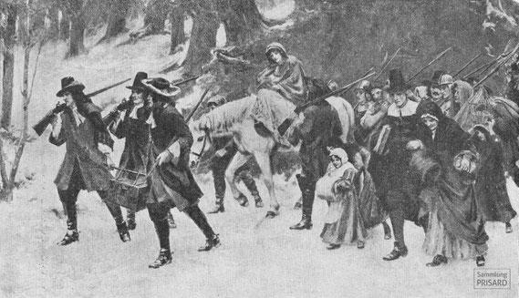 IMA.20.049 Winterliche Flucht von Hugenotten (Gravur, ND [1907-1909]) / © Sammlung PRISARD