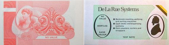 Test-Banknote, ca. 1985-1990 (von De La Rue) / © Sammlung PRISARD