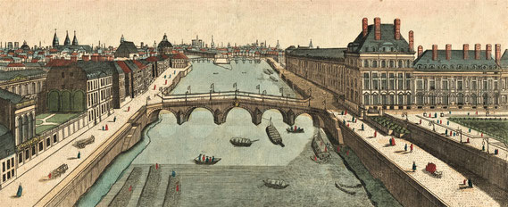 IMA.18.036 Flößerei auf der Seine zur Holzversorgung der Pariser Innenstadt (Kupferstich, 2. Hälfte 18. Jahrhundert) / © Sammlung PRISARD