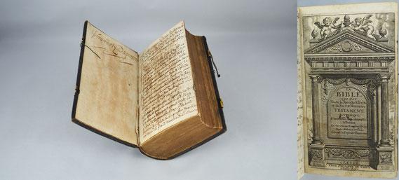LIB.17.023 Familienbibel des Pariser Holzhändlers Jacques Girardot du Perron mit genealogischen Notizen (Leiden, 1665) / © Sammlung PRISARD