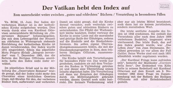 LIB.20.032 Frankfurter Allgemeine vom 16. Juni 1966, Seite 3: Aufhebung des Index Librorum Prohibitorum / © Frankfurter Allgemeine Zeitung (Sammlung PRISARD)