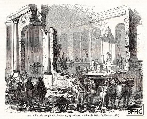 IMA.19.027 Zerstörung der reformierten Kirche von Charenton (Holzstich, ND [vrmtl. 1865]) / © Sammlung BFHG