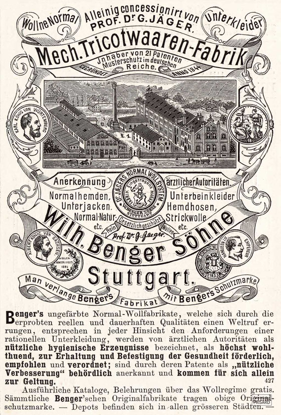 Werbeanzeige von Wilhelm Benger Söhne (Jllustrirte Zeitung [Leipzig], 1884) / © Sammlung PRISARD