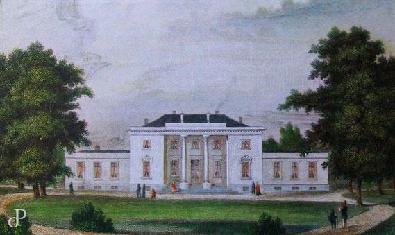 Das von Jean Cesar IV. erbaute sog. »Godeffroy´sche Landhaus« in Dockenhuden, Hamburg (Lithographie, 1855; Repr.) / © Sammlung PRISARD