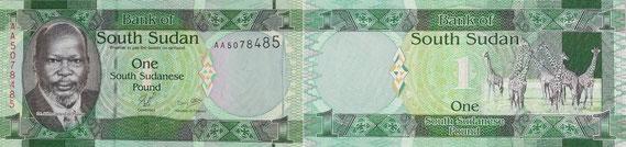Südsudanesische Banknote aus dem Jahr 2011 (von De La Rue) / © Sammlung PRISARD