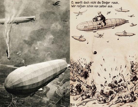 CAP.20.020/021 (v.l.n.r.): Zeppelin im Kampf mit Fliegern (Ansichtskarte, 1915) / Zeppelin im Kampf gegen Bodentruppen (Ansichtskarte, 1914) / © Sammlung BFHG