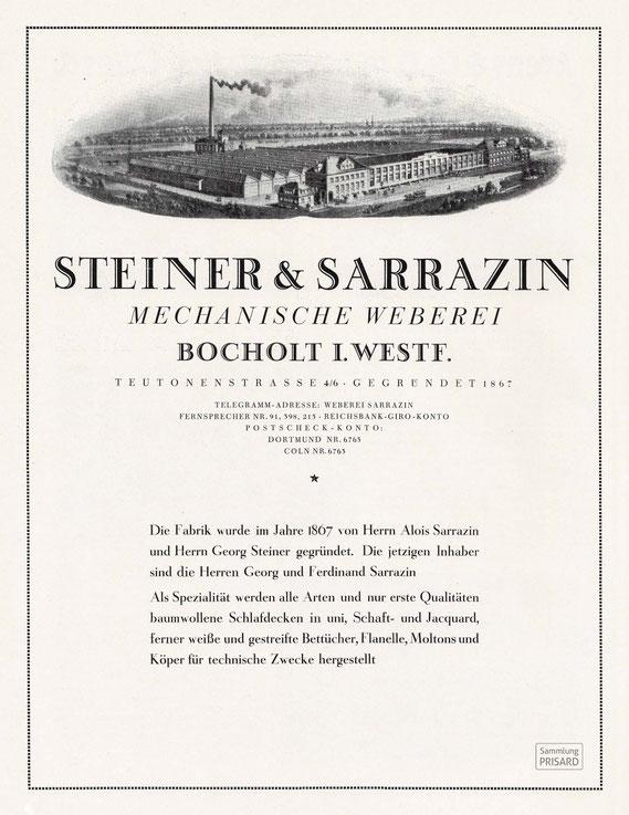 IMA.20.040 Werbeanzeige der Mechanischen Weberei Steiner & Sarrazin, Bocholt (Berlin, 1925) / © Sammlung PRISARD
