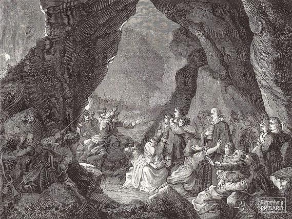 IMA.19.029 Verhaftung von protestantischen Gottesdienstteilnehmern (»Assemblée au désert«) (Gravierung, 1887) / © Sammlung PRISARD