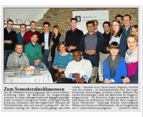 Wetzlarer Neue Zeitung (WNZ), 29.01.2014, Seite 19 / © Medienhaus Wetzlar, Wetzlar (D)