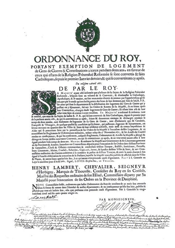 Ordonnance du Roy (Grenoble, 1681) / © Sammlung PRISARD