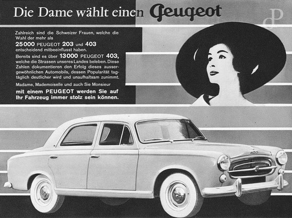 Werbeanzeige von Peugeot, 1959 / © Sammlung PRISARD
