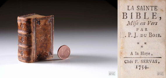 LIB.18.042 La Sainte Bible (»Haarknotenbibel«; frz. »Bible de chignon«) (La Haye/Den Haag, 1753/1754) / Sammlung PRISARD (Bildrechte: © Sammlung BFHG)