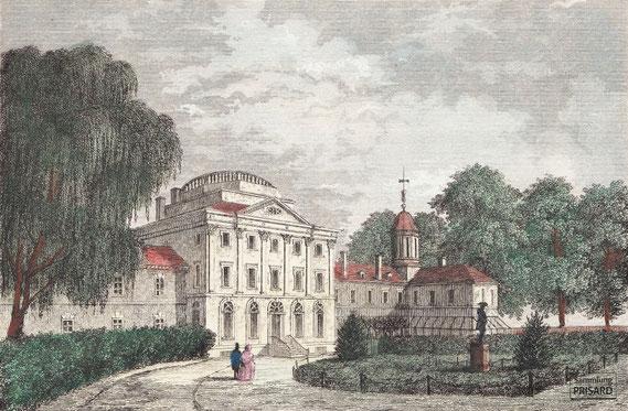 IMA.19.031 Kolorierter Stich »Hôpital de Pensylvanie« (»Spital von Pennsylvanien«; 1837) / © Sammlung PRISARD