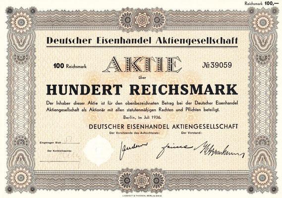 RES.20.005 Aktie der Deutsche Eisenhandel AG (Berlin, 1936) / © Sammlung PRISARD