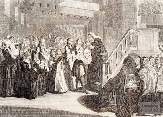 IMA.18.015 Die Taufe der Reformierten (»Le BAPTÊME des REFORMÉS«) (Kupferstich, 18. Jahrhundert) / © Sammlung PRISARD