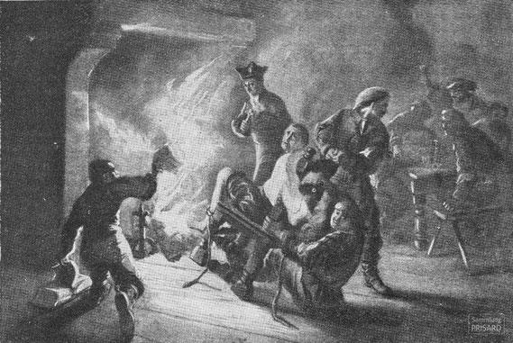 IMA.20.033 Dragonade und damit verbundene Bücherverbrennung (Gravur, ND [1907-1909]) / © Sammlung PRISARD