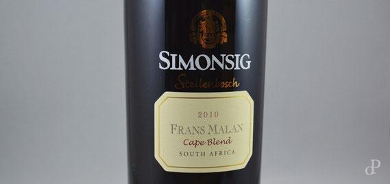 Rotwein-Flasche »Frans Malan« von Simonsig (Südafrika, 2010) / © Sammlung PRISARD