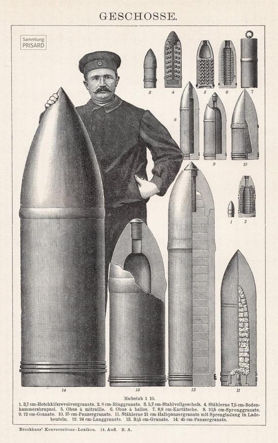 IMA.20.041 Artilleriegeschosse der Zeit vor dem Ersten Weltkrieg (Leipzig, 1902) / © Sammlung PRISARD