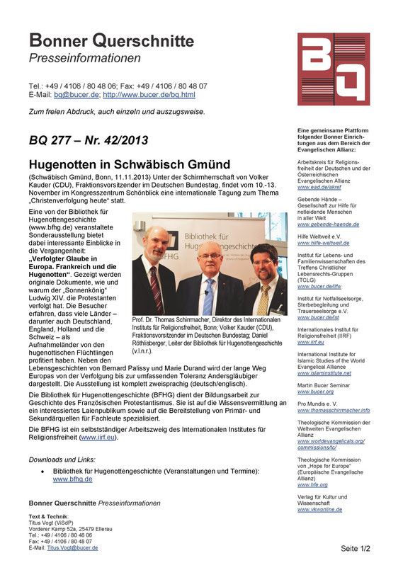 Bonner Querschnitte 277 - 42/2013 (12.11.2013), Seite 1 / ©  Bonner Querschnitte, Bonn (D)