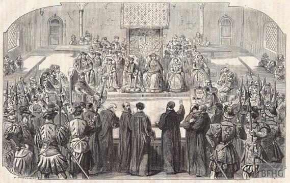 IMA.19.050 Religionsgespräch von Poissy (1561) (Holzstich, ND [vrmtl. 1865]) / © Sammlung BFHG