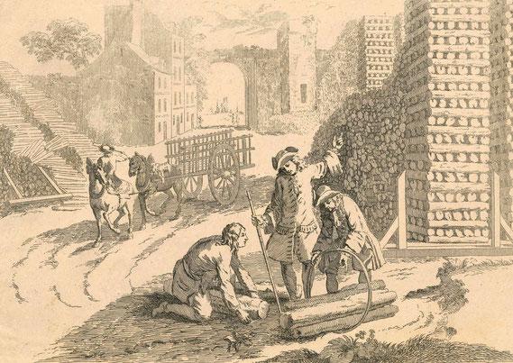 IMA.18.038 Französische Holzhändler beim Abmessen von Kaminholz (Radierung, um 1740) / © Sammlung PRISARD