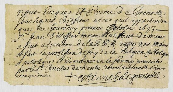 AUT.17.002 Katholizitätszertifikat (»Certificat de catholicité«; auch: »Abschwörungszertifikat«) / © Sammlung PRISARD