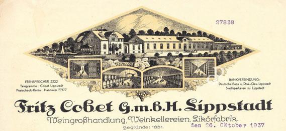 Briefkopf der Fritz Cobet Weingroßhandlung, Weinkellereien, Likörfabrik (Lippstadt, 1937) / © Sammlung PRISARD