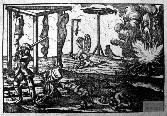 IMA.18.006 Massaker in der Mühle von Agau / Todesstrafen für Kamisarden (Kupferstich, 1733) / © Sammlung PRISARD