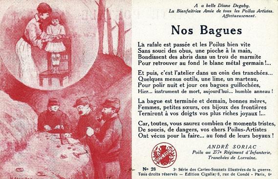 IMA.20.043 Feldpostkarte mit Gedicht auf die Grabenkunst französischer Frontsoldaten im Ersten Weltkrieg (Paris, o.D. [1914-1918]) (»Nos Bagues« – »Unsere Ringe«) / © Sammlung PRISARD