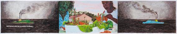 Susanne Koheil Günter Wintgens  »Dos Gardenias« 2013/14  (nach einem Standfoto aus dem Video CHANK) Temperafarbe auf Papier  100 x 540 cm