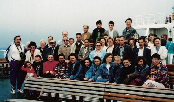 Sur le ferry lors de notre 1er voyage en Angleterre en 1996.