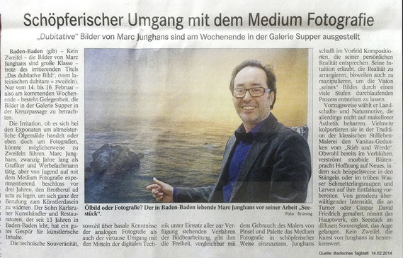 "Artikel Badisches Tagblatt Marc Junghans ""das dubitative Bild"""