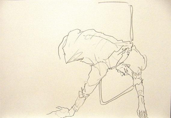 椅子の上でだらけた男性(これは5分間だったため未完成)