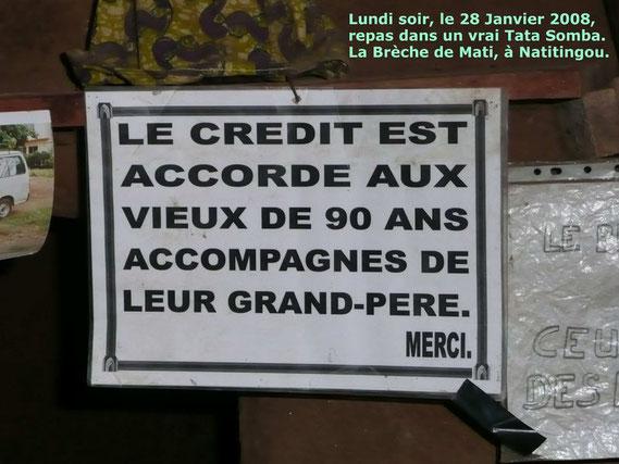 """Restaurant """" La Brèche de Mati """" à Natitingou. 332 KO."""