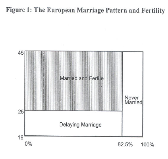Figure showing the European Marriage Pattern and Fertility