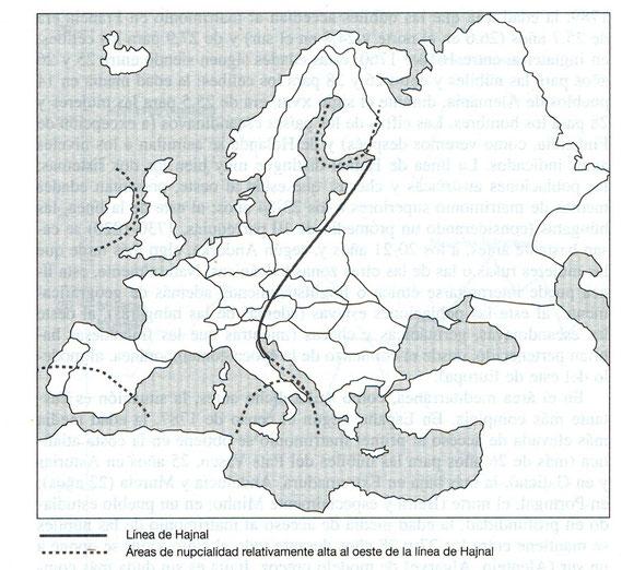 Mapa con la línea de Hajnal