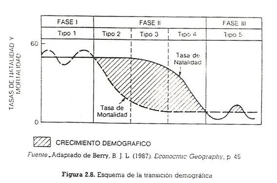 Figura que representa la teoría de la transición demográfica