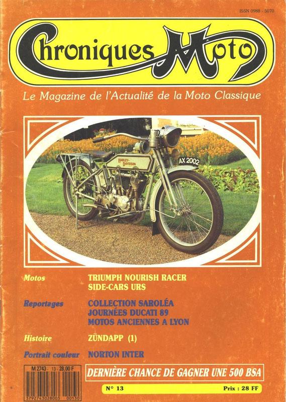 Chronique Moto juillet-aout 1989. Historique de la marque. 1ère partie.