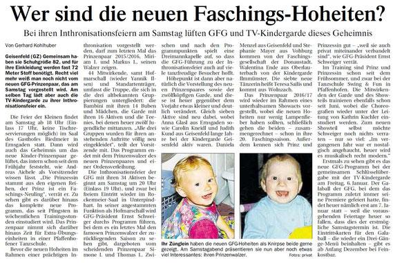 09.11.2016 Geisenfelder Zeitung, Gehard Kohlhuber