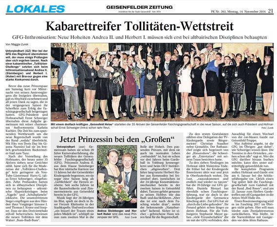 04.11.2016 Geisenfelder Zeitung, Maggie Zurek