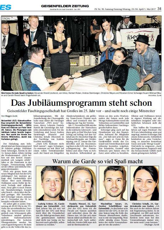 29.04.2017 Geisenfelder Zeitung, Maggie Zurek
