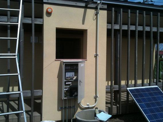 ソーラーパネルからの電気で稼働する噴水制御システム