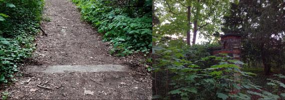Erst, wenn man genauer hinsieht, erkennt man die alten Friedhofsmauern und die Reste des Portals (Fotos durch Klick vergrößerbar). (Fotos: J. Frick)